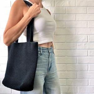 The Sak 90s large black crochet shoulder bag purse